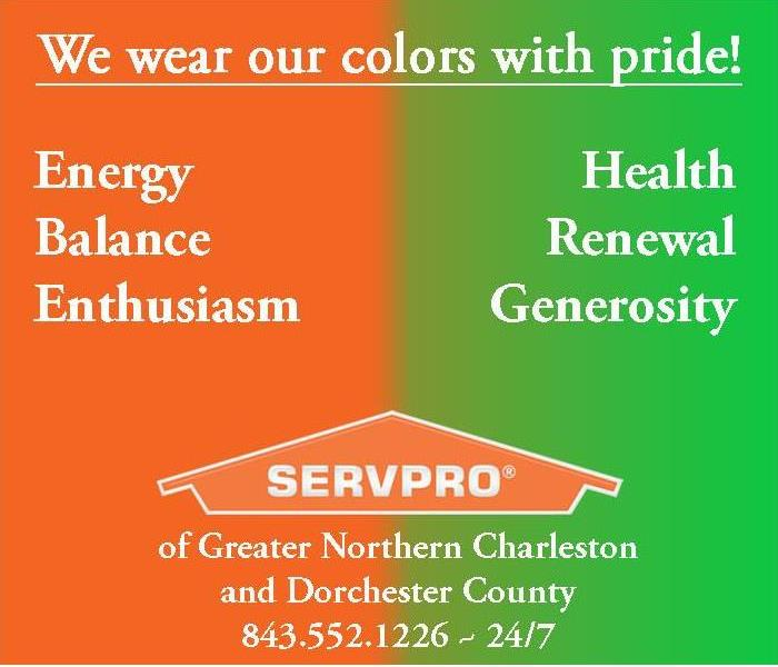 split image of SERVPRO's colors, orange and green