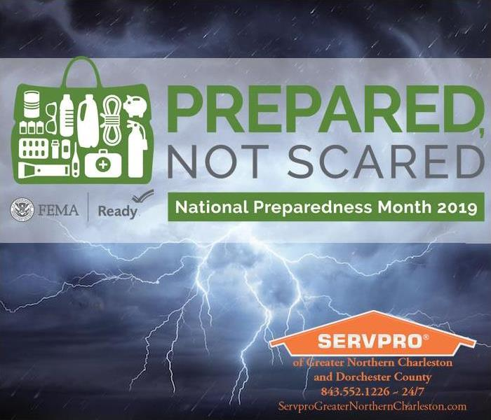 Lighting in sky with national preparedness and SERVPRO logo overlay